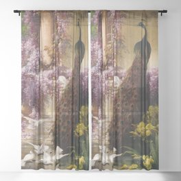 Peacock, White Doves, Yellow Iris & Purple Flowering Wisteria in a Garden landscape floral painting Sheer Curtain