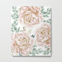 Pretty Blush Pink Roses Flower Garden Metal Print