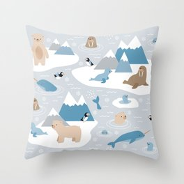 Arctic animals Throw Pillow