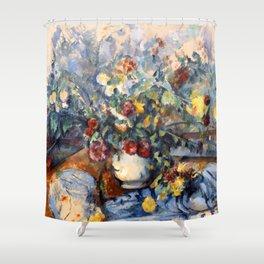 "Paul Cezanne ""A Large Bouquet of Flowers "" Shower Curtain"