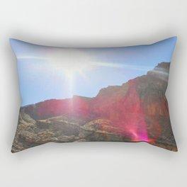 Lens Flare Over The Mountain Rectangular Pillow