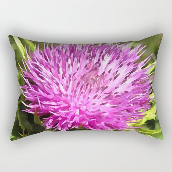 Purple Thistle Wildflower Rectangular Pillow