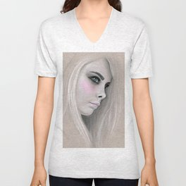 Cara Fashion Illustration Portrait Unisex V-Neck