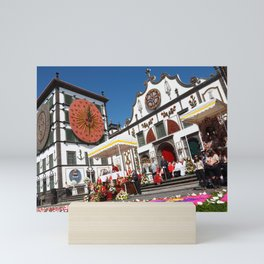 Religious festival in Azores Mini Art Print