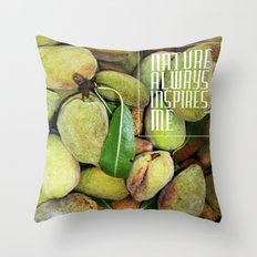 Green almonds (Nature always inspires me) Throw Pillow