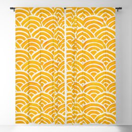 Japanese Seigaiha Wave – Marigold Palette Blackout Curtain