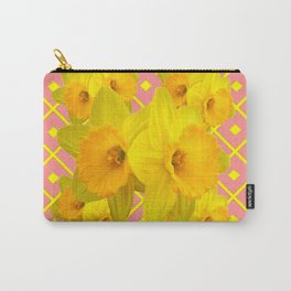 Pink Color Gold Daffodils on Coral Abstract Carry-All Pouch