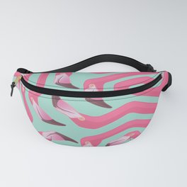 Flamingo Maze on beach glass background. Fanny Pack