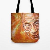 lama Tote Bags featuring Dalai Lama by ARTito