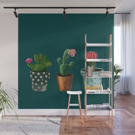 Three Cacti With Flowers On Green Background Wall Mural
