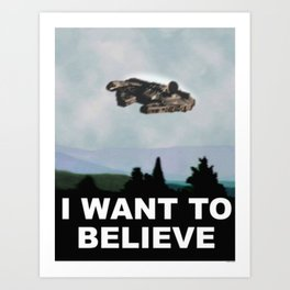 Falcon I Want to Believe  Art Print