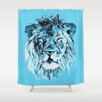 lion Shower Curtains featuring Lion by Nuam