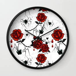 Black Widow Spider with Red Rose Wall Clock