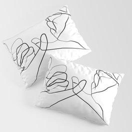 promettre -Pinky Swear , One Line Drawing Pillow Sham