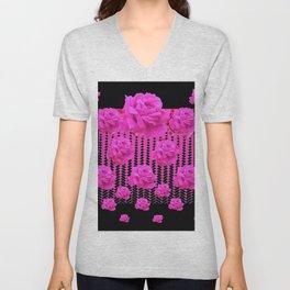 MODERN BLACK ART CERISE PINK ROSE GARDEN Unisex V-Neck