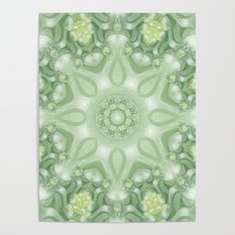 Spring Mandala 02 in Green, Yellow and White Poster