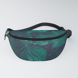 Dark emerald green ivy leaves water drops Fanny Pack