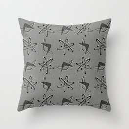 Atoms and Boomerangs on Gray Throw Pillow