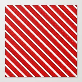 Valentines Red Diagonal Stripes Canvas Print