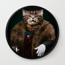 Arrogant sophisticated dressed cat boss looking with contempt Wall Clock