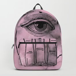 Hamsa Horus Eye Pink Gray Marble Backpack