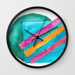 180819 Geometrical Watercolour 3  | Colorful Abstract | Modern Watercolor Art Wall Clock