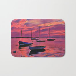Sunset on the Mooring Field Boats Bath Mat