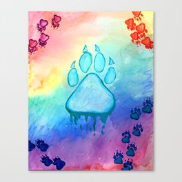 Painted Paw Prints on the Heart Canvas Print
