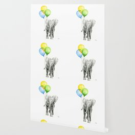 Elephant Watercolor Baby Animal with Balloons Blue Yellow Green Wallpaper