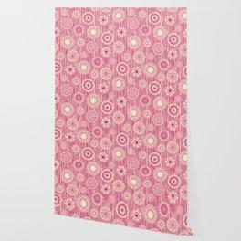 mandala cirque spot pink cream Wallpaper