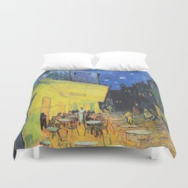 Café Terrace at Night by Vincent van Gogh Duvet Cover