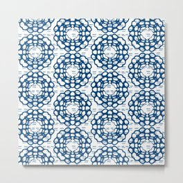 Japanese Geometric Flower Stitching in Blue and White Metal Print
