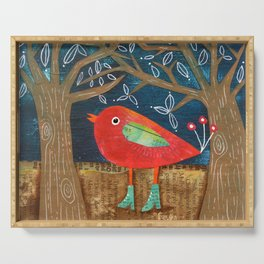 Red Bird in Galoshes Serving Tray
