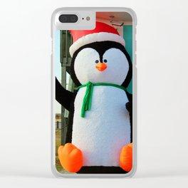 Penguin In A Santa Hat Clear iPhone Case