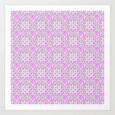 Lacey Pattern, White/Pink Art Print