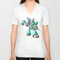 starcraft V-neck T-shirts featuring Mech.Cat HAMMER by FoxBoy