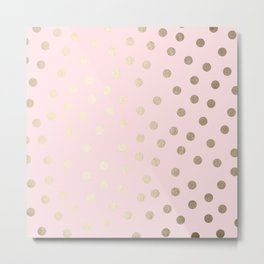 Dots White Gold Sands on Flamingo Pink Metal Print
