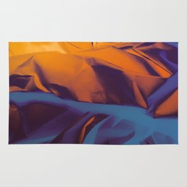 Orange, Purple and Blue Abstract. Mixed Media. Rug