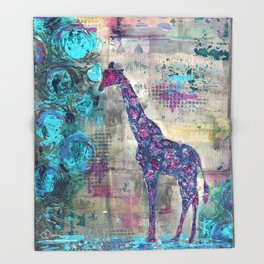 Majestic Series: Giraffe having a berry Throw Blanket