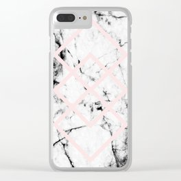 White Marble Concrete Look Blush Pink Geometric Squares Clear iPhone Case