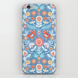 Happy Folk Summer Floral on Light Blue iPhone Skin