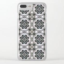 Portuguese Tiles Azulejos Black White Pattern Clear iPhone Case