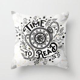 Time to Read - Black Throw Pillow