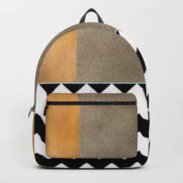 Shiny Copper Coffee Glaze And Black And White Chevron Pattern Backpack