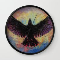 crow Wall Clocks featuring Crow by Michael Creese