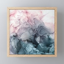 Blush and Paynes Gray Flowing Abstract Reflect Framed Mini Art Print