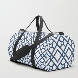 Modern Geometric Diamonds and Circles Pattern Navy Blue and White Duffle Bag