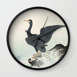 Red mask cormorant on rock, Ohara Koson, c. 1900 Wall Clock