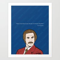 anchorman Art Prints featuring Ron Burgundy Anchorman  by Sheena White for Winsome Gallery
