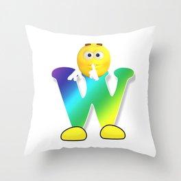 Letter W Alphabet Smiley Monogram Face Emoji Shirt for Men Women Kids Throw Pillow
